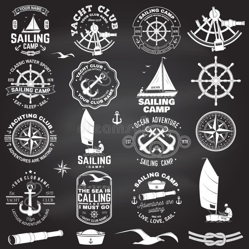 Установите плавать значок лагеря и яхт-клуба r Концепция для рубашки, печати или тройника Винтажный дизайн оформления с чернотой бесплатная иллюстрация