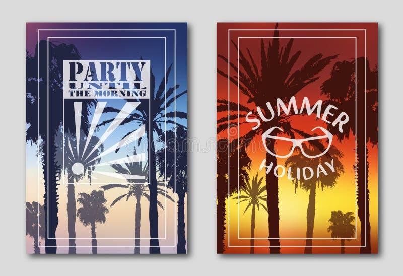 Установите 2 плакатов, силуэтов пальм против неба Логотип, утро, партия Солнечные очки, заход солнца бесплатная иллюстрация