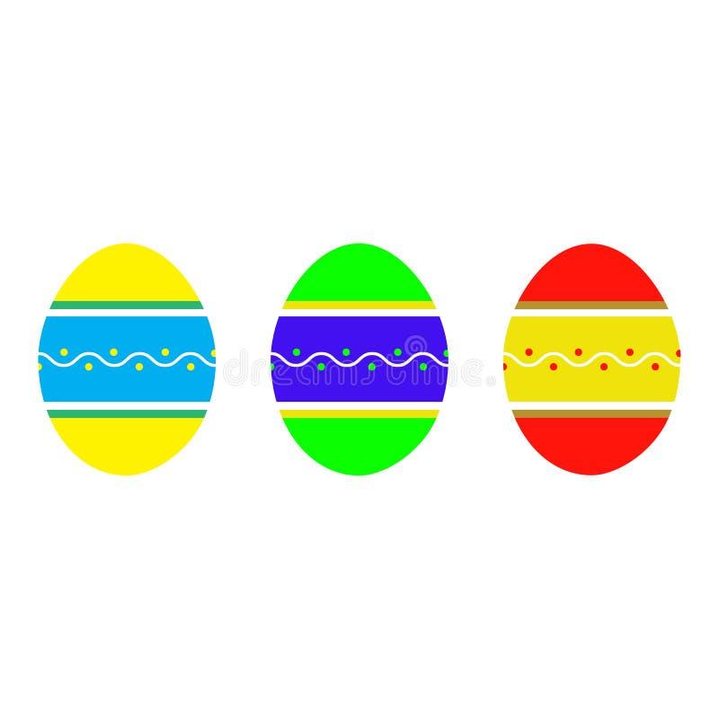 Установите плоских пасхальных яя с орнаментом на белой предпосылке Праздник весны также вектор иллюстрации притяжки corel Счастли иллюстрация штока