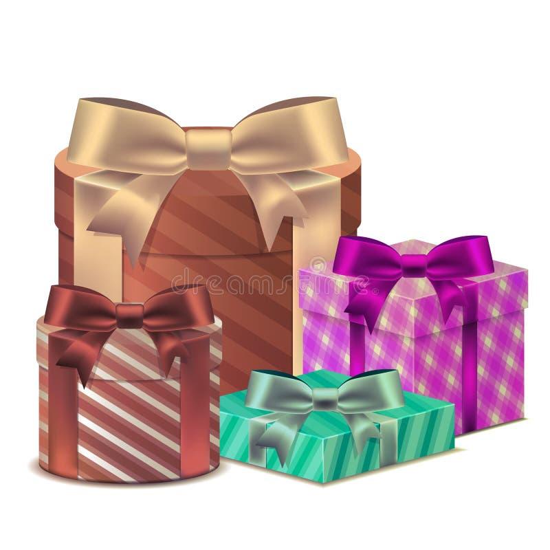 Установите подарочную коробку 3D с лентой для торжества дня рождения, Christma стоковые фото