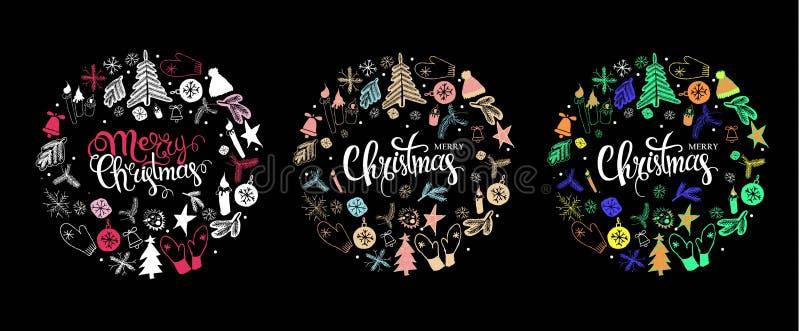 Установите поздравительные открытки рождества иллюстрация вектора