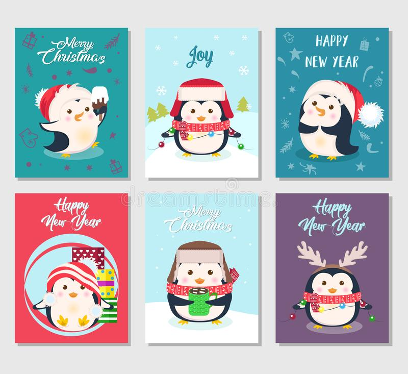 Установите поздравительных открыток веселого рождества с милыми пингвинами бесплатная иллюстрация