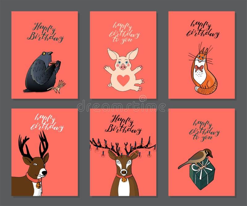 Установите поздравительных открыток дня рождения на розовой предпосылке с милыми животными красные кот, голубь, олени, свинья и в иллюстрация вектора