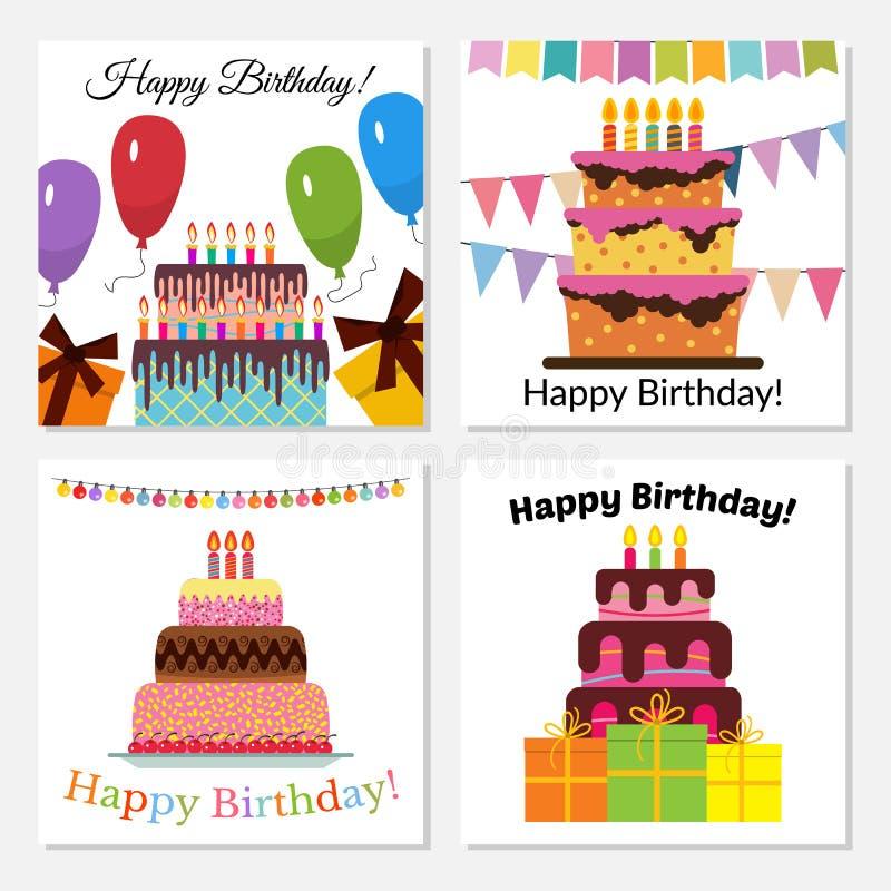 Установите 4 поздравительных открыток со сладким тортом для торжества дня рождения иллюстрация штока