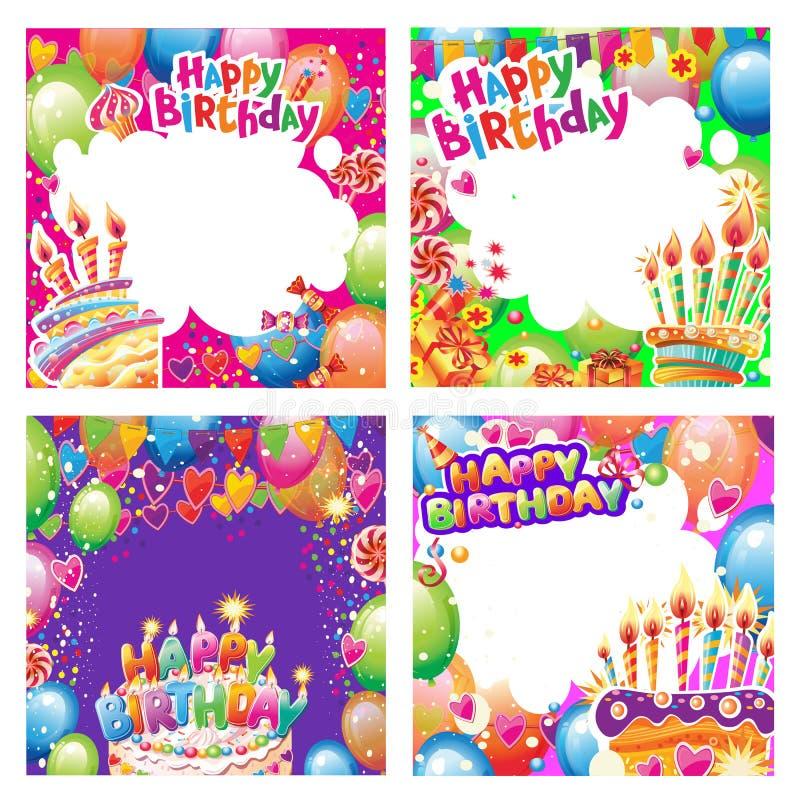 Установите поздравительых открыток ко дню рождения с местом для текст иллюстрация штока