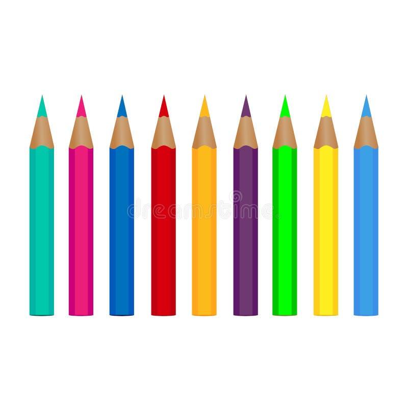 Установите покрашенные карандаши изолированный на белой предпосылке также вектор иллюстрации притяжки corel иллюстрация штока