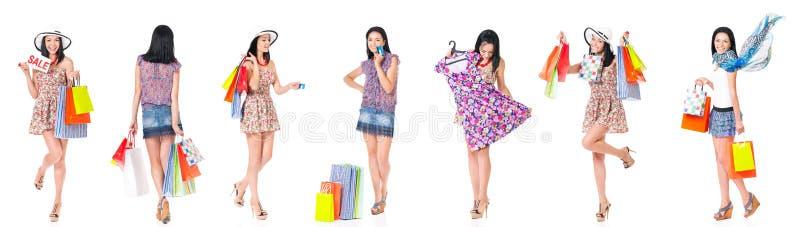 Установите покупок женщины стоковое изображение rf