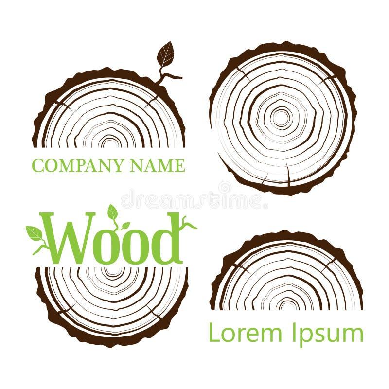 Установите поперечное сечение хобота с кольцами дерева также вектор иллюстрации притяжки corel логос Годичные кольца дерева Попер иллюстрация вектора