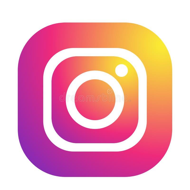 Установите популярного социального вектора элемента Instagram значков логотипов средств массовой информации на белой предпосылке  иллюстрация штока