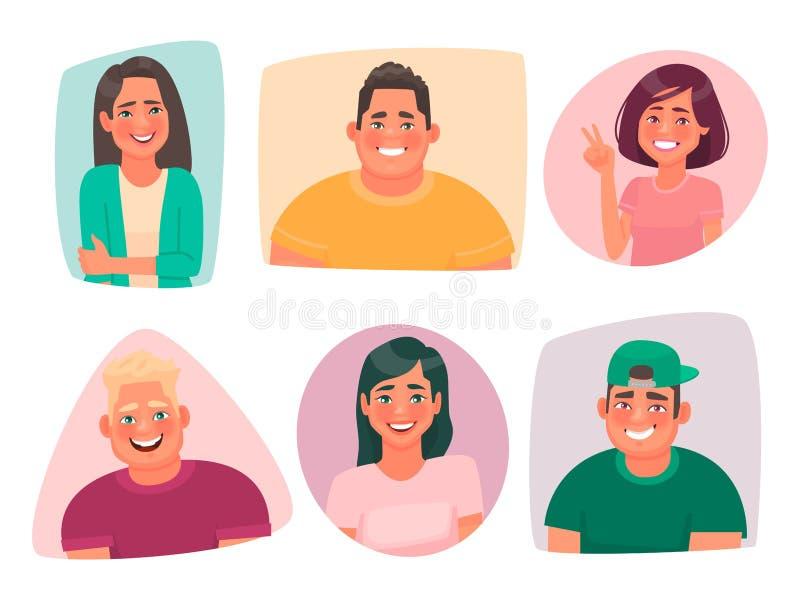Установите портретов молодых счастливых людей Воплощения усмехаясь парней и девушек студентов Радостные характеры людей и женщин иллюстрация вектора