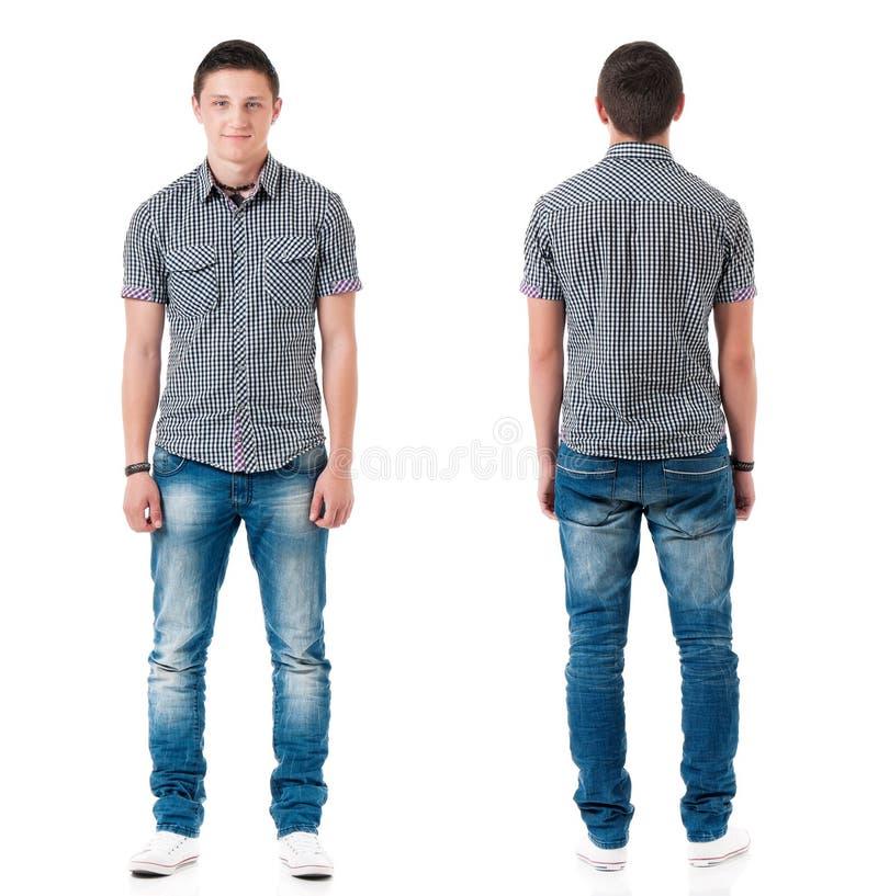 Установите предназначенного для подростков мальчика на белизне стоковая фотография rf