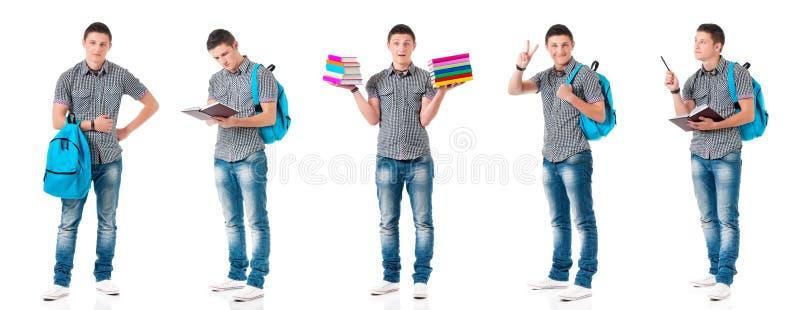 Установите предназначенного для подростков мальчика на белизне стоковое фото