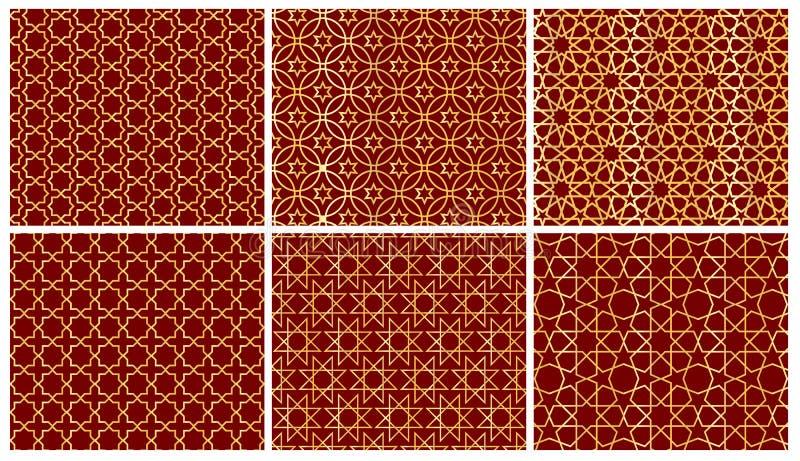 Установите предпосылки 6 арабской картин Геометрический безшовный мусульманский фон орнамента иллюстрация вектора исламской текст иллюстрация вектора