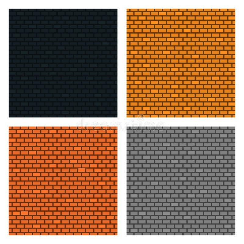 Установите предпосылки кирпичных стен 4 текстуры Оранжевые, желтые, серые, черные цвета r иллюстрация вектора