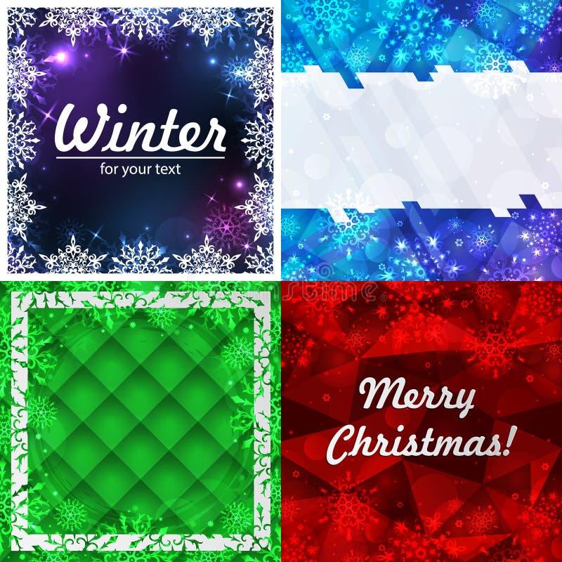 Установите 4 предпосылок зимы Рамка зимы со снежинками E Предпосылка Нового Года с космосом для вашего бесплатная иллюстрация