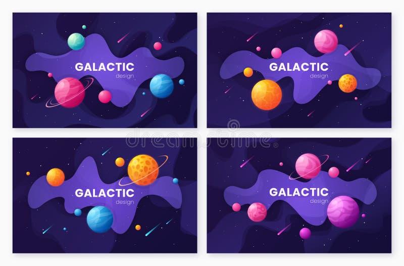 Установите предпосылок космического пространства галактики мультфильма футуристических, дизайна бесплатная иллюстрация