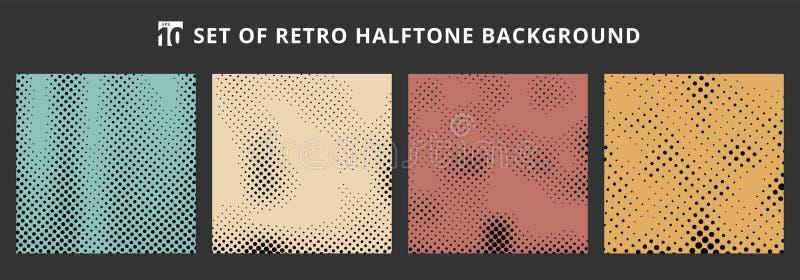 Установите предпосылок полутонового изображения ретро Абстрактные текстуры grunge поставленной точки картины бесплатная иллюстрация