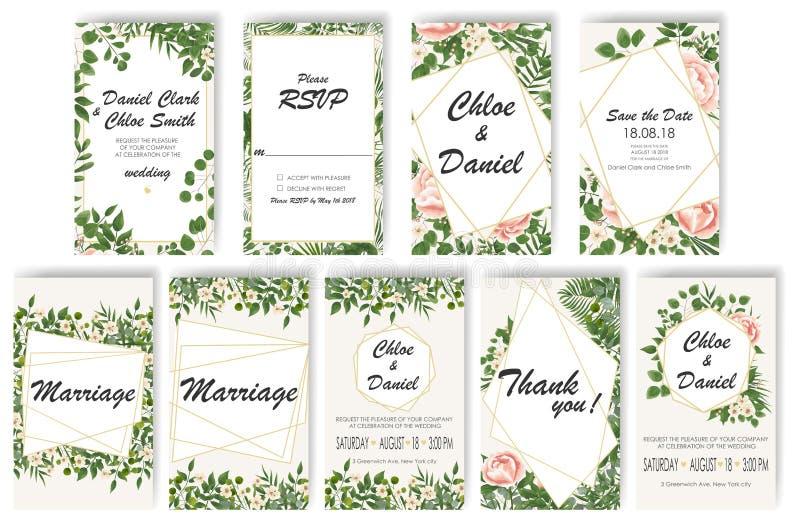 Установите приглашение свадьбы с пионами, цветками и листьями зеленого цвета rsvp современный дизайн карточки иллюстрация штока
