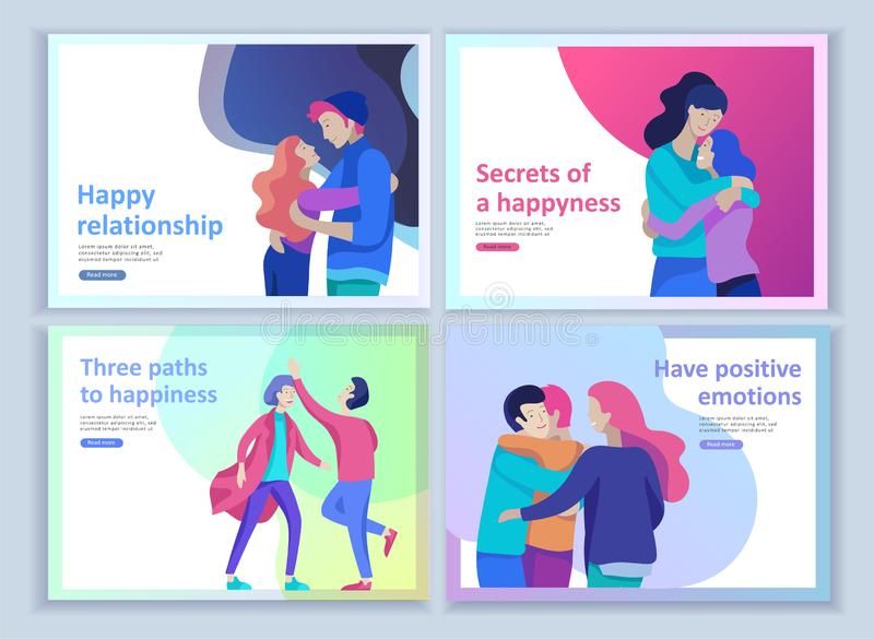 Установите приземляясь шаблонов страницы для положительной психологии, психотерапии семьи группы Счастливый характер друзей имеет иллюстрация штока