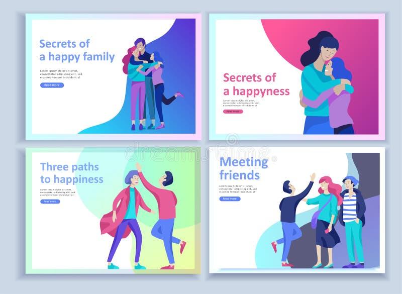 Установите приземляясь шаблонов страницы для положительной психологии, психотерапии семьи группы Счастливый характер друзей имеет бесплатная иллюстрация