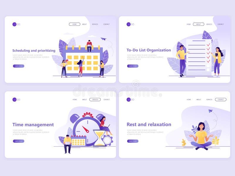 Установите приземляясь шаблонов страницы Планирование бизнеса, контроль времени, стратегия и организация E иллюстрация штока