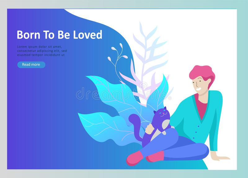Установите приземляясь шаблонов страницы с символом вектора Счастливые люди с их любимцами, кот любят свои владельцев, заботу и л бесплатная иллюстрация