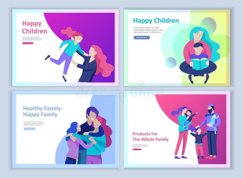 Установите приземляясь шаблонов счастливой семьи страницы, перемещения и психотерапии, здравоохранения семьи, развлечений товаров бесплатная иллюстрация