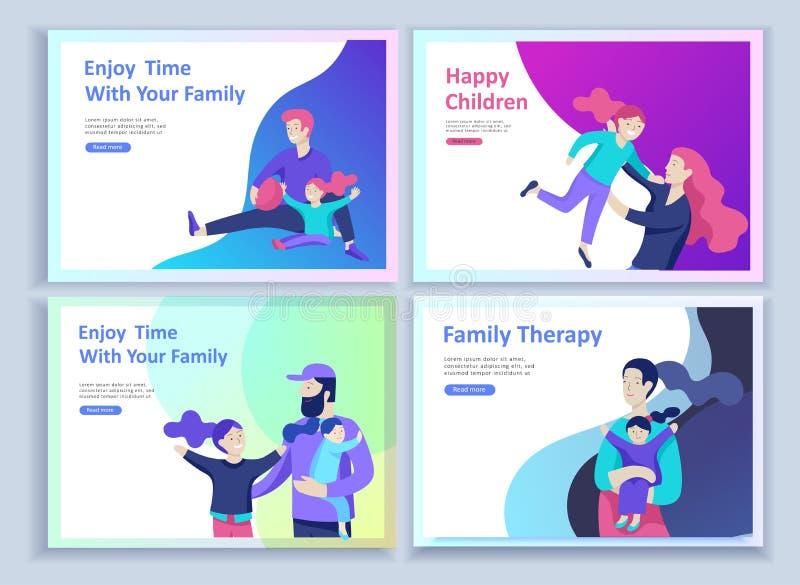 Установите приземляясь шаблонов счастливой семьи страницы, перемещения и психотерапии, здравоохранения семьи, развлечений товаров иллюстрация вектора