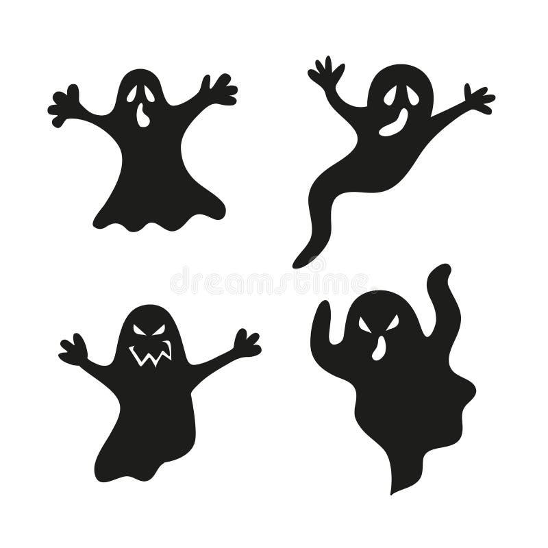 Установите призраки хеллоуина бесплатная иллюстрация