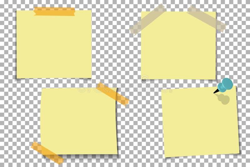 Установите примечание офиса желтое бумажное при липкая лента, изолированная на прозрачной предпосылке Шаблон для ваших проектов т иллюстрация штока