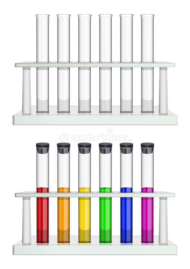 Установите пробирок в шкафах Пробирки пустые и заполненные с пестротканой жидкостью Особенное лабораторное оборудование для иллюстрация штока