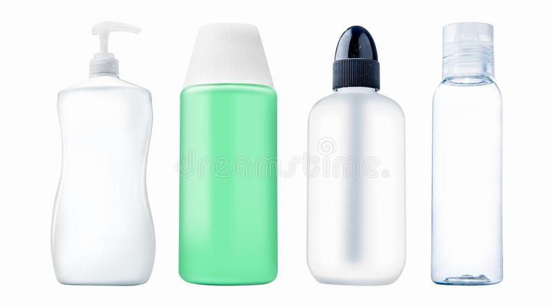 Установите продукта бутылки разнообразия пластикового для красоты или здоровья стоковое фото rf