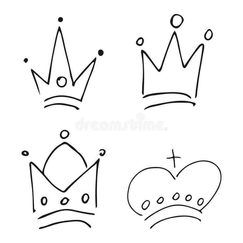 Установите 4 простых крон короля эскиза граффити иллюстрация вектора