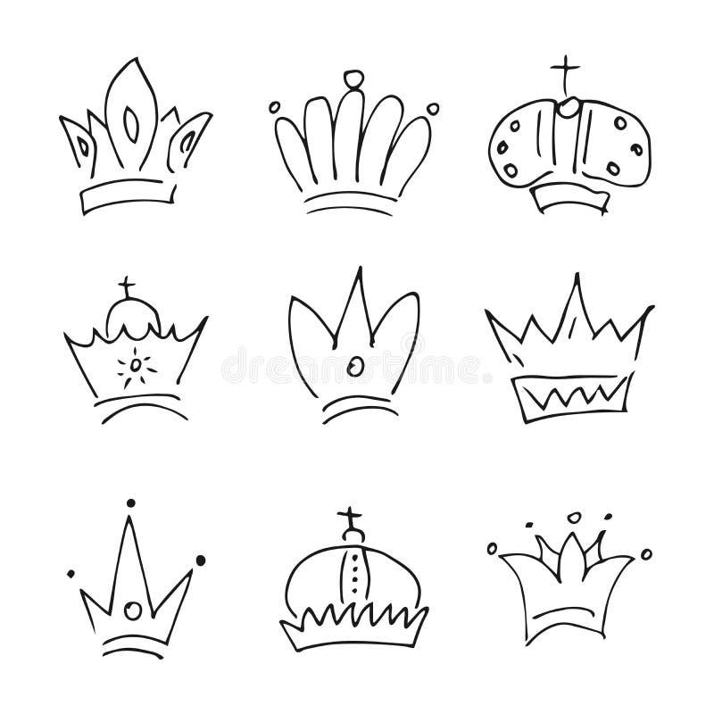 Установите 9 простых ферзя эскиза или крон короля иллюстрация вектора
