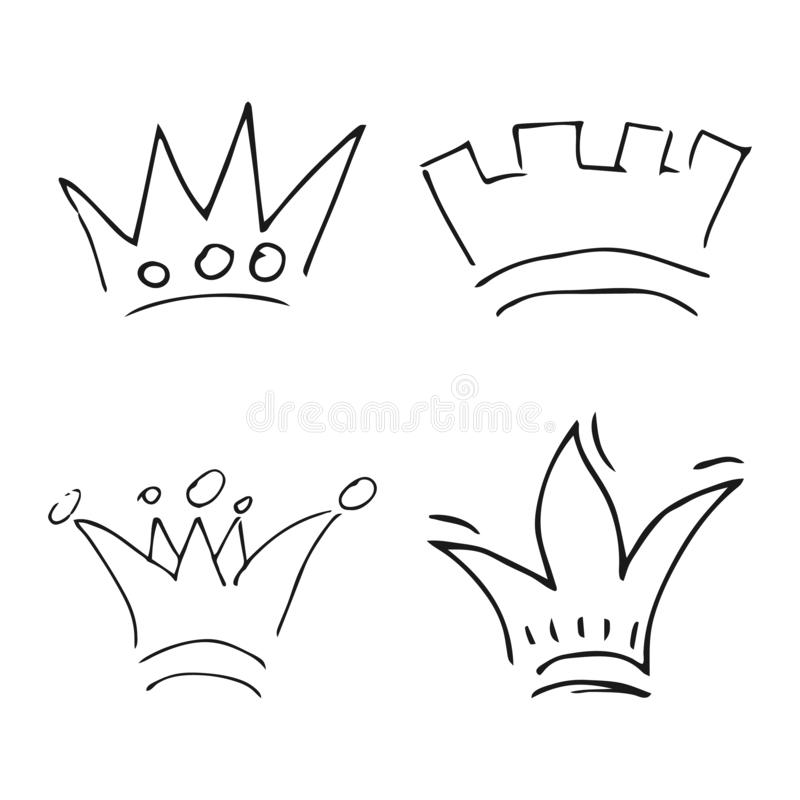 Установите 4 простых ферзя эскиза или крон короля бесплатная иллюстрация