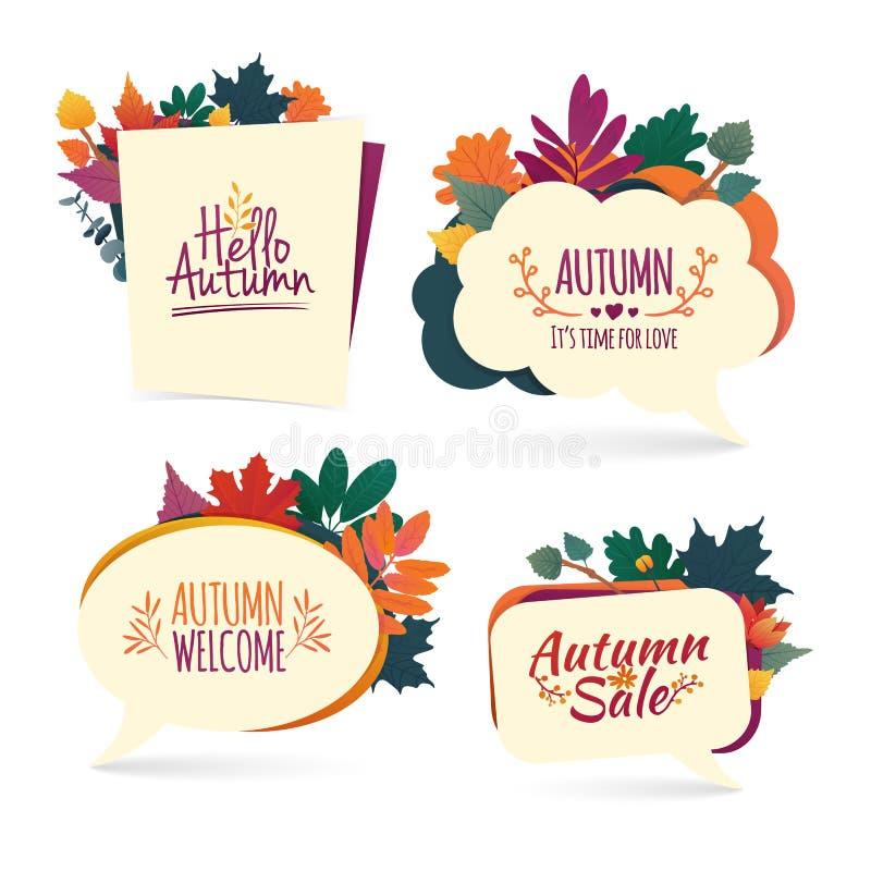 Установите пузыри осени Конструируйте знамя с продажей осени и здравствуйте! логотип Карточка скидки на сезон падения с травой пр иллюстрация штока