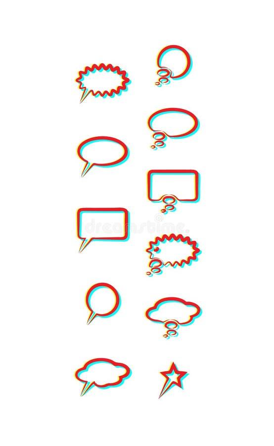 Установите пузырь речи значков использование влияния двойные свет и duoton - каждый элемент собран индивидуально для легкого силу иллюстрация штока