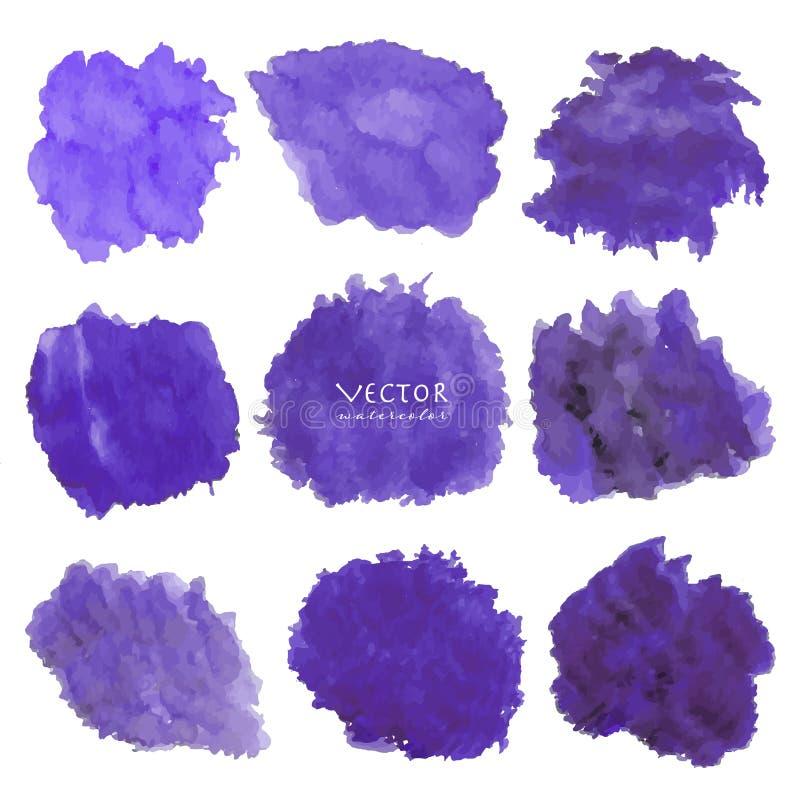 Установите пурпурной акварели на белой предпосылке иллюстрация штока