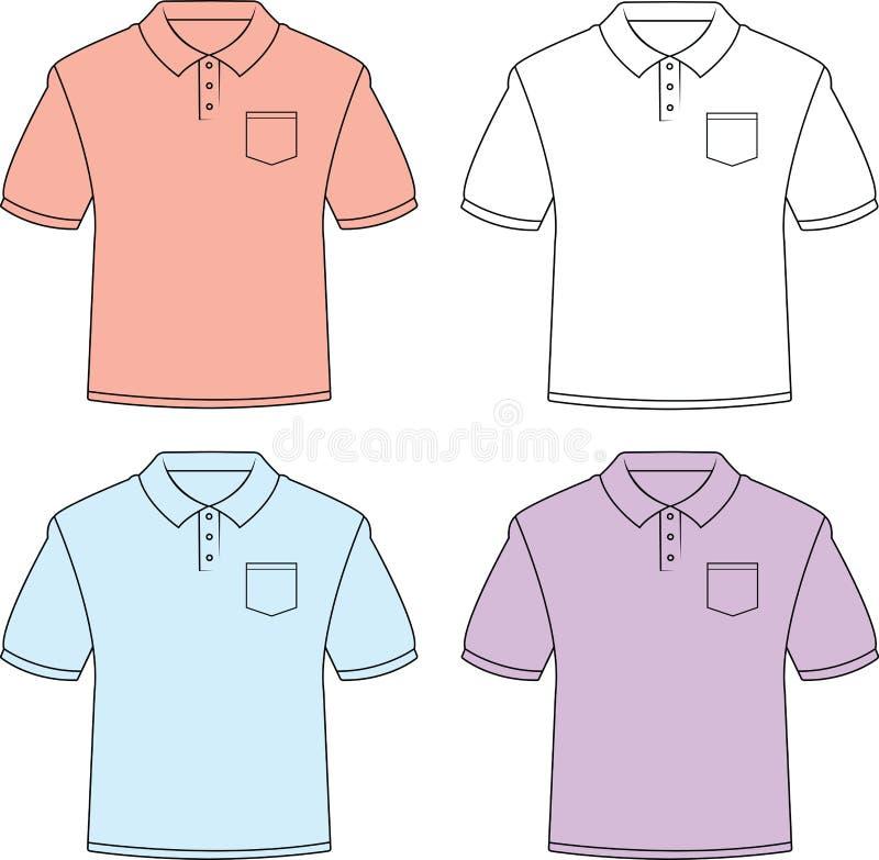 Установите 4 пустых рубашек поло с карманами бесплатная иллюстрация