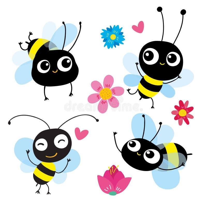Установите 4 пчел мультфильма в движении Каждая пчела отражает различную эмоцию, действие Польза как эмблема элемента значка симв иллюстрация вектора