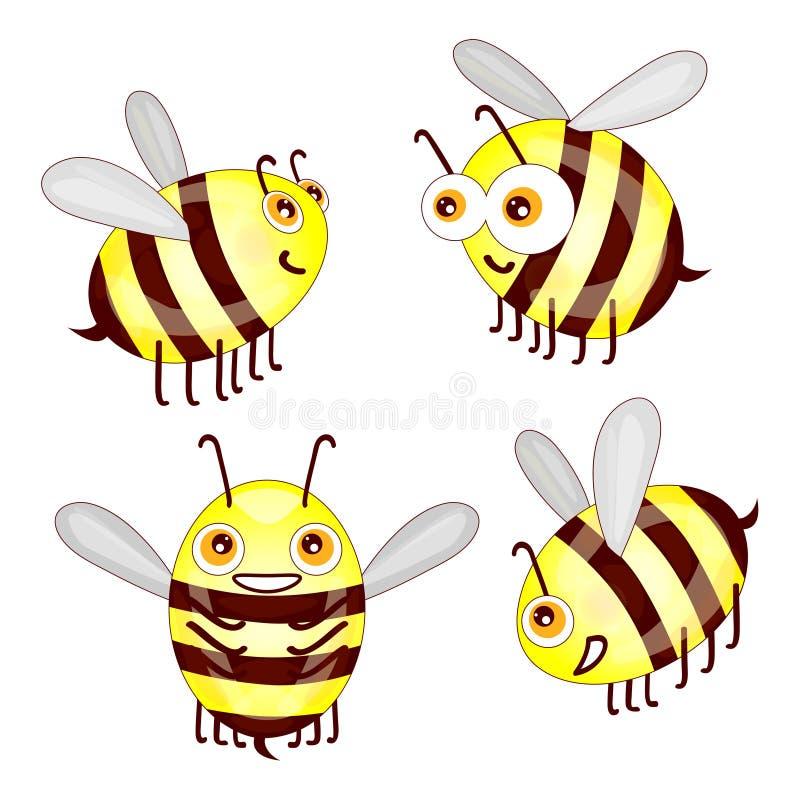 Установите пчел шаржа милых изолированный на белой предпосылке иллюстрация вектора