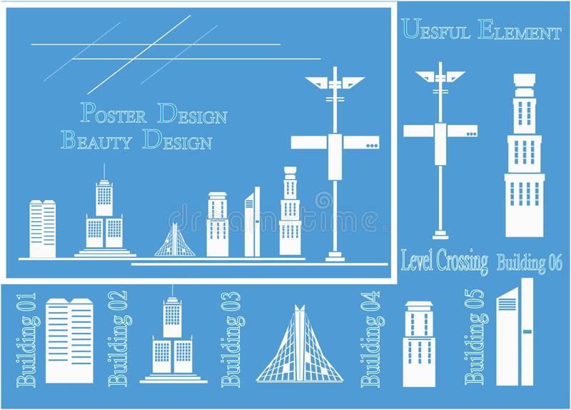 Установите равновеликих зданий города: частные дома, небоскребы, недвижимость, общественные здания, гостиницы Строя иллюстрация в иллюстрация штока