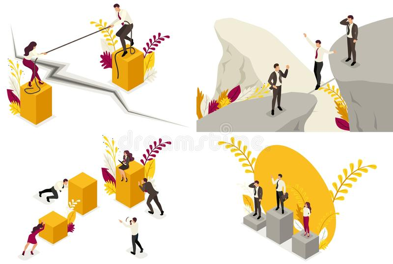 Установите равновеликих концепций делового риска, падения, конкуренции, конфликта партнера, разногласий Для вебсайта и мобильного иллюстрация вектора