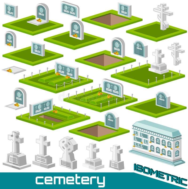 Установите равновеликой могилы и пересеките различный стиль для вектора кладбища иллюстрация штока