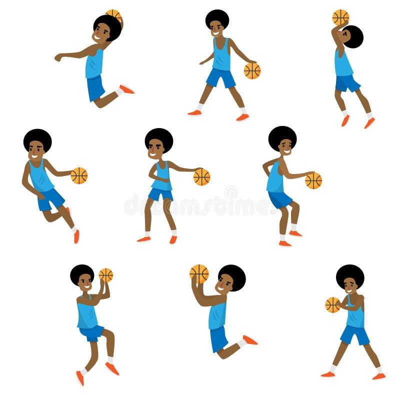 Установите различного действия африканского мальчика характера баскетбола иллюстрация штока