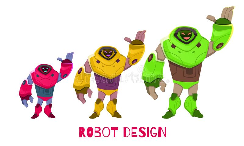 Установите различный в векторе мультфильма дизайна робота размера иллюстрация вектора