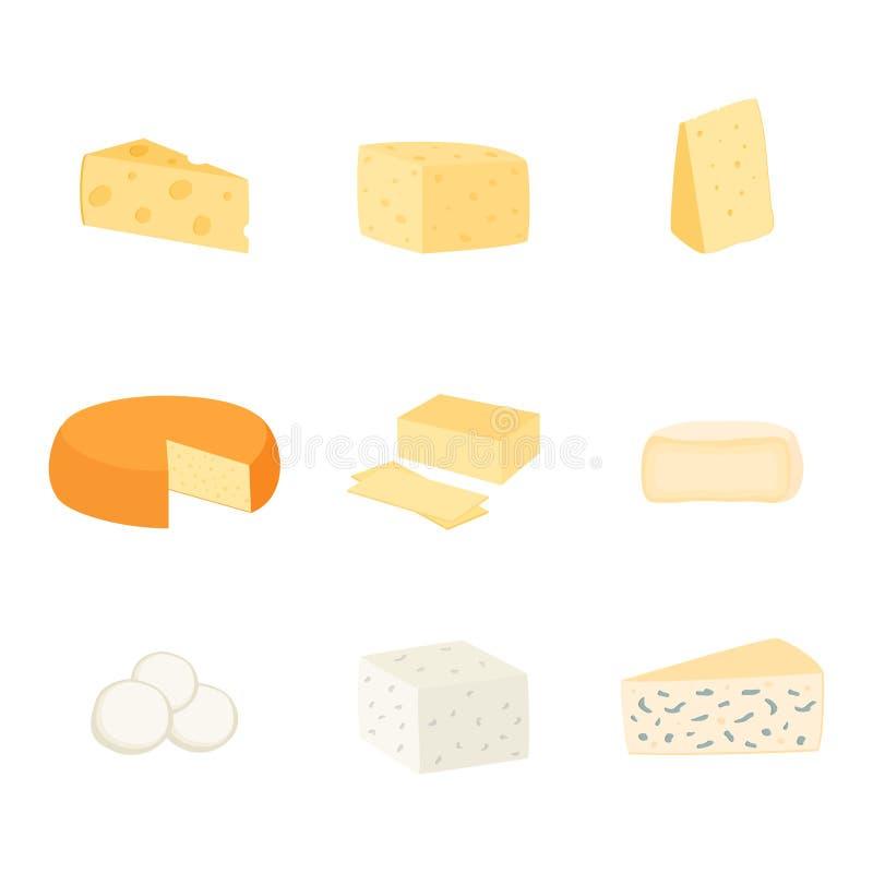 Установите различных видов сыра, иллюстрации вектора стоковая фотография rf