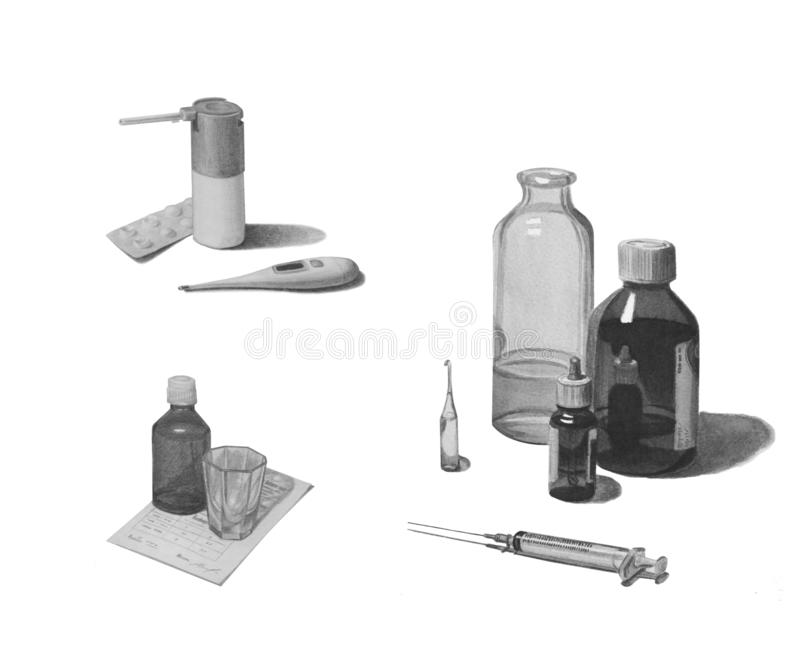 Установите различных лекарств изолированных на белизне Черно-белый чертеж карандаша иллюстрация вектора