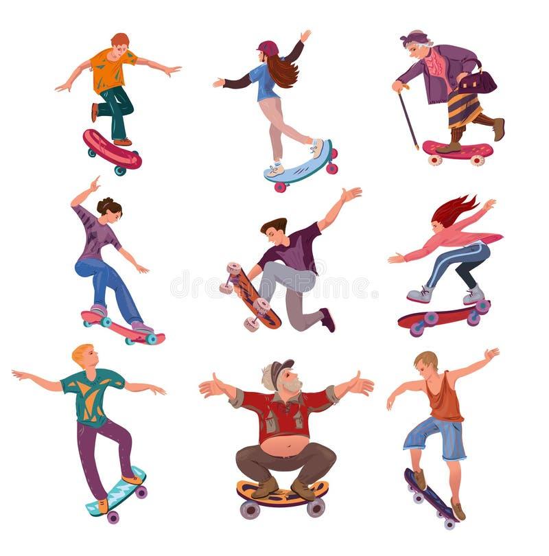 Установите различных людей возрастов на скейтборде в парке города иллюстрация штока