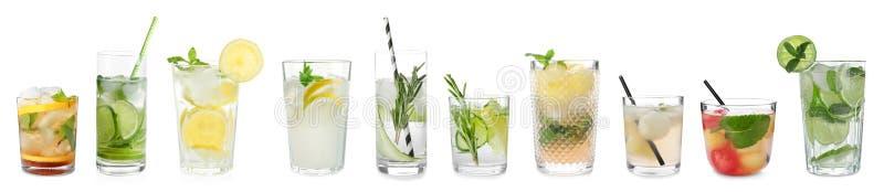 Установите различных очень вкусных коктейлей стоковое фото
